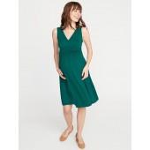 Maternity Waist-Defined Cross-Front Jersey Dress