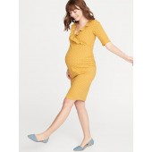Maternity Ruffled Surplice Bodycon Dress
