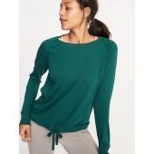 French Terry Drawstring-Hem Sweatshirt for Women