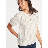 Patterned Twill Puff-Sleeve Blouse for Women
