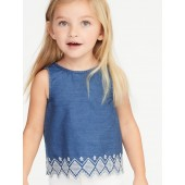 Embroidered Zig-Zag Hem Chambray Top for Toddler Girls