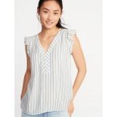 Striped Ruffle-Trim Blouse for Women
