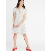 Ruffled High-Neck Swing Dress for Women