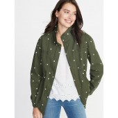 Embroidered Daisy-Print Field Jacket for Women