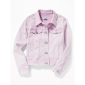 Lilac-Wash Denim Jacket for Girls