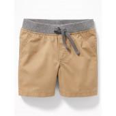 Rib-Knit Waist Twill Shorts for Baby