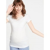 Maternity Lace-Trim Slub-Knit Top