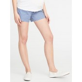 Maternity Full-Panel Gingham Twill Shorts - 5-inch inseam