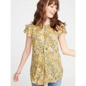 Maternity Floral-Print Ruffle-Sleeve Blouse