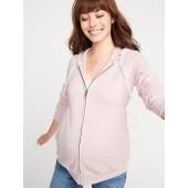Maternity Cinched-Waist Zip Hoodie