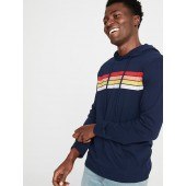 Soft-Washed Chest-Stripe Tee Hoodie for Men