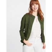 Linen-Blend Utility Jacket for Women