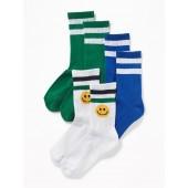 Retro-Stripe Crew Socks 3-Pack for Boys