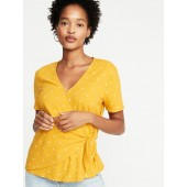 Textured Wrap-Front Side-Tie Top for Women