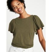 Relaxed Ruffle-Sleeve Top for Women