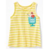 Slub-Knit Embellished Graphic Pocket Tank for Toddler Girls