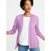 Short Open-Front Textured Sweater for Women