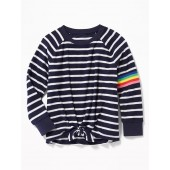 Striped Loop-Terry Tie-Hem Sweatshirt for Girls