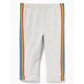 Cropped Side-Stripe Jersey Leggings for Toddler Girls