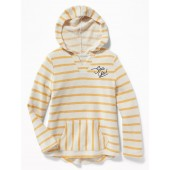 Striped Graphic Cali-Fleece Pullover Hoodie for Girls