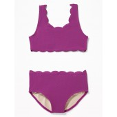 Textured Scalloped-Edge Swim Set for Girls