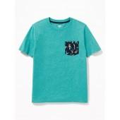 Slub-Knit Pocket Tee for Boys