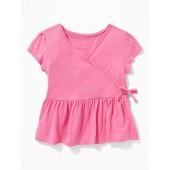 Slub-Knit Faux-Wrap Peplum-Hem Top for Toddler Girls