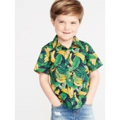 Banana-Print Built-In Flex Shirt for Toddler Boys