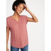 Linen-Blend Dolman-Sleeve Henley for Women