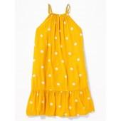 Polka-Dot High-Neck Swing Dress for Girls