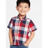 Plaid Built-In Flex Shirt for Toddler Boys