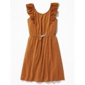 Slub-Knit Eyelet-Sleeve Waist-Defined Dress for Girls