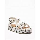 Polka-Dot Canvas Cross-Strap Platform Sandals For Toddler Girls