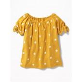 Slub-Knit Cold-Shoulder Tie-Sleeve Top for Girls
