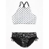 High-Neck Strappy-Back Tankini Swim Set for Girls