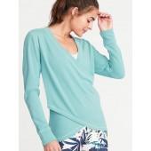 Faux-Wrap French-Terry Sweatshirt for Women