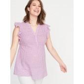 Maternity Gingham Linen-Blend Ruffle-Sleeve Top
