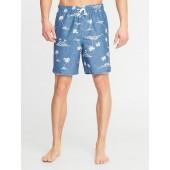 Printed Swim Trunks for Men - 8-inch inseam