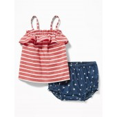 Americana Ruffle-Trim Top & Bloomers Set for Baby