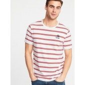 Soft-Washed Striped Embroidered-Graphic Tee for Men