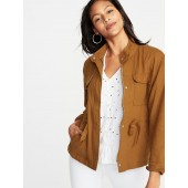 Linen-Blend Utility Jacket for Women