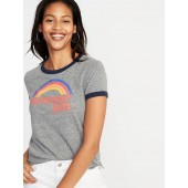 Slim-Fit Graphic Ringer Tee for Women
