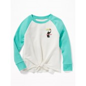 Tie-Front Embroidered-Graphic Raglan Sweatshirt for Girls