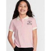 Graphic Cropped Pique Polo for Girls