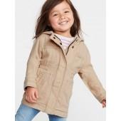 Hooded Linen-Blend Twill Jacket for Toddler Girls