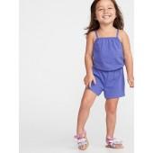 Slub-Knit Jersey Romper for Toddler Girls