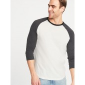 Soft-Washed Color-Blocked 3/4-Sleeve Tee for Men