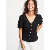 Button-Front Puff-Sleeve Blouse for Women