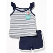 Graphic Pocket Tank & Dolphin-Hem Shorts Set for Baby