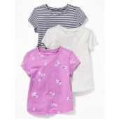 Crew-Neck Tee 3-Pack for Toddler Girls
